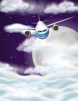 Aeroplano che vola in cielo durante le ore notturne vettore