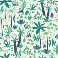 Modello senza cuciture con piante tropicali astratte. Disegno vettoriale