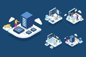 Il data center del server cloud è un sistema di servizi di rete su Internet vettore