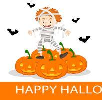 Felice poster di Halloween con bambino in costume da mummia vettore