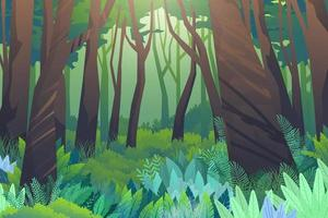scena foresta di alberi e verdi siepi basse vettore