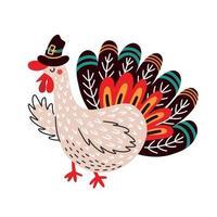brillante illustrazione vettoriale colorato del tradizionale simbolo di ringraziamento di tacchino carino e divertente in cappello isolato su sfondo bianco