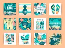 Set di disegni tropicali estivi. Modelli vettoriali