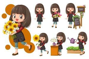 allegro fiorista giovane donna in grembiule al negozio di fiori vettore