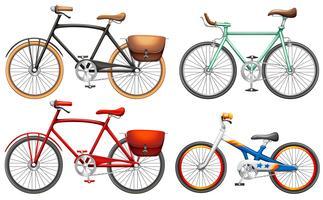 Set di biciclette a pedali vettore