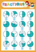 Un foglio di lavoro per la frazione matematica vettore
