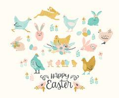 Buona Pasqua. Vector set di pollo e coniglietti di Pasqua per carta, poster, flyer e altri utenti.