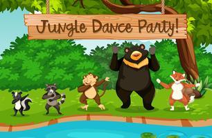 Animali e festa nella giungla vettore
