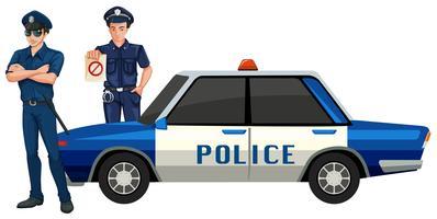 Uomo della polizia con l'auto vettore