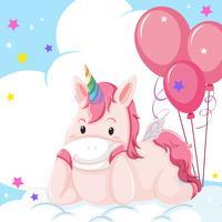 Un personaggio unicorno su cloud vettore