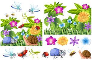 Molti insetti in giardino fiorito vettore