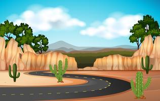 Scena con strada attraverso il canyon vettore