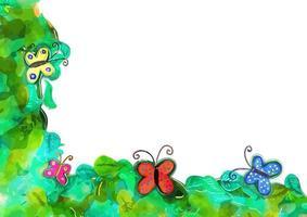 decorazione del bordo della primavera della farfalla dell'acquerello vettore