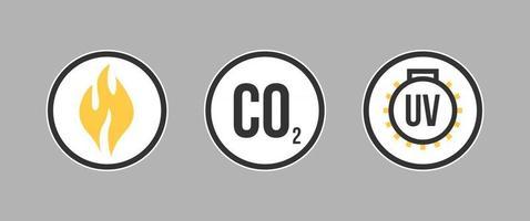 segno di avvertimento per radiazioni uv tossico gas di anidride carbonica bio rischio. avviso di radiazioni radioattive. etichetta di laboratorio biologico vettore