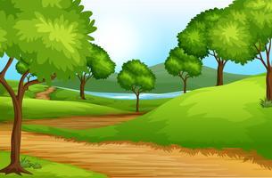 Bellissimo paesaggio verde vettore