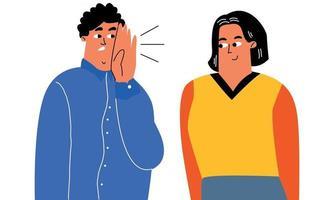 un uomo nell'orecchio racconta a un amico una storia, un pettegolezzo, una conversazione sussurrata, un segreto. caratteri vettoriali stilizzati