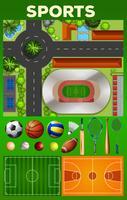 Diversi tipi di attrezzature sportive e campi