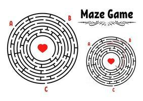 labirinto rotondo astratto. gioco per bambini. puzzle per bambini. enigma del labirinto. illustrazione vettoriale piatto isolato su sfondo bianco. con risposta. stile vintage