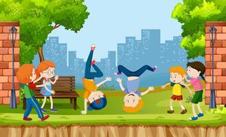 I bambini urbani mostrano il ballo di strada al parco vettore