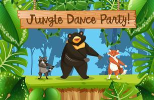 Scena di festa nella giungla vettore