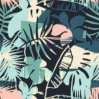Modello esotico senza cuciture con piante tropicali e sfondo artistico
