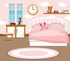 Uno sfondo di camera da letto ragazza carina vettore