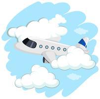 Aeroplano che vola su in cielo