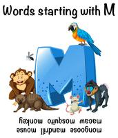 Parole inglesi che iniziano con M illustrazione vettore