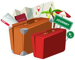 Valigia vintage con elemento di viaggio