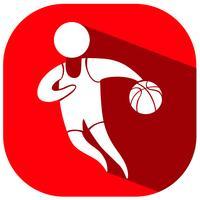 Disegno dell'icona di sport per il basket su sfondo rosso