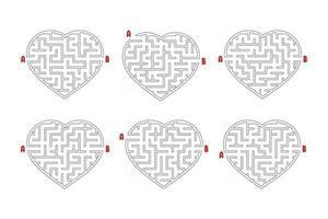 un insieme di labirinti di cuori. gioco per bambini. puzzle per bambini. enigma del labirinto. illustrazione vettoriale piatto isolato su sfondo bianco.