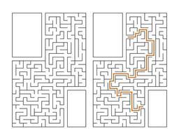 labirinto rettangolare astratto. gioco per bambini. puzzle per bambini. enigma del labirinto. illustrazione vettoriale piatto isolato su sfondo bianco. con risposta. con posto per la tua immagine.