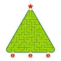 labirinto triangolare astratto. gioco per bambini. puzzle per bambini. trova la strada giusta per la stella. enigma del labirinto. illustrazione vettoriale piatto isolato su sfondo bianco. albero di Natale.