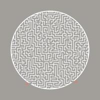 labirinto tondo difficile. gioco per bambini e adulti. puzzle per bambini. enigma del labirinto. illustrazione vettoriale piatto isolato su sfondo colorato.