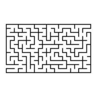 labirinto rettangolare astratto. gioco per bambini. puzzle per bambini. un ingresso, un'uscita. enigma del labirinto. illustrazione vettoriale piatto isolato su sfondo bianco.
