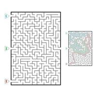 labirinto rettangolare di grandi dimensioni astratto. gioco per bambini. puzzle per bambini. tre ingressi, un'uscita. enigma del labirinto. illustrazione vettoriale piatto isolato su sfondo bianco. con risposta.