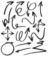 Doodles design per frecce vettore