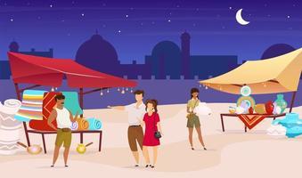 illustrazione vettoriale di colore piatto bazar notturno. mercato di strada di Istanbul. souk turco, fiera araba. turisti che acquistano souvenir, tappeti personaggi dei cartoni animati senza volto con moschea e cielo sullo sfondo