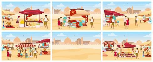 set di illustrazioni vettoriali a colori piatti bazar egitto. mercato arabo all'aperto con tappeti, spezie, ceramiche fatte a mano. turisti che acquistano souvenir artigianali personaggi dei cartoni animati. souk orientale sullo sfondo del deserto