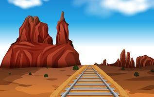 Rock Mountain nella scena del deserto vettore