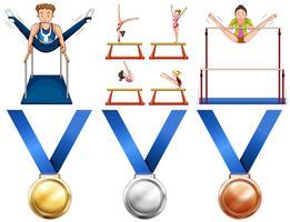 Atleti di ginnastica e medaglie sportive vettore