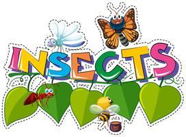 Design adesivo per insetti parola con molti bug vettore