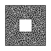 labirinto quadrato astratto nero con un posto per la tua immagine. un gioco interessante e utile per i bambini. una semplice illustrazione vettoriale piatto isolato su uno sfondo bianco.