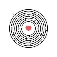 labirinto rotondo nero con ingresso e uscita. un gioco interessante e utile per i bambini. semplice illustrazione vettoriale piatto isolato su sfondo bianco.