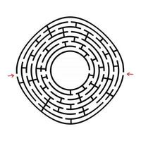 labirinto rotondo nero con un posto per il tuo disegno. un gioco interessante e utile per i bambini. semplice illustrazione vettoriale piatto isolato su sfondo bianco.