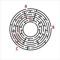 labirinto rotondo nero. gioco per bambini. puzzle per bambini. molti ingressi, un'uscita. enigma del labirinto. semplice illustrazione vettoriale piatto isolato su sfondo bianco. con posto per la tua immagine.