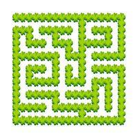 labirinto quadrato astratto - giardino verde, arbusti. gioco per bambini. puzzle per bambini. un ingresso, un'uscita. enigma del labirinto. illustrazione vettoriale. vettore