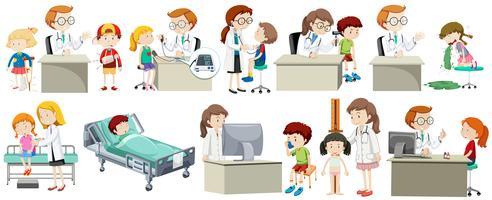 Un set di dottore e bambino vettore