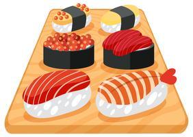 Un set di sushi giapponese vettore