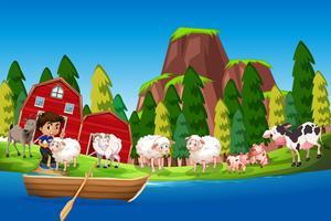 Scena di fattoria con ragazzo e animali vettore